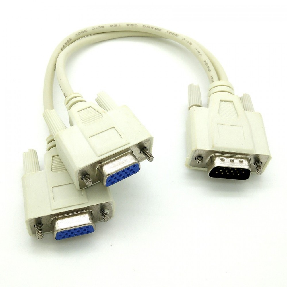 Zee-Cool VGA 1 Male to 2 Female Monitor Y Splitter Cable