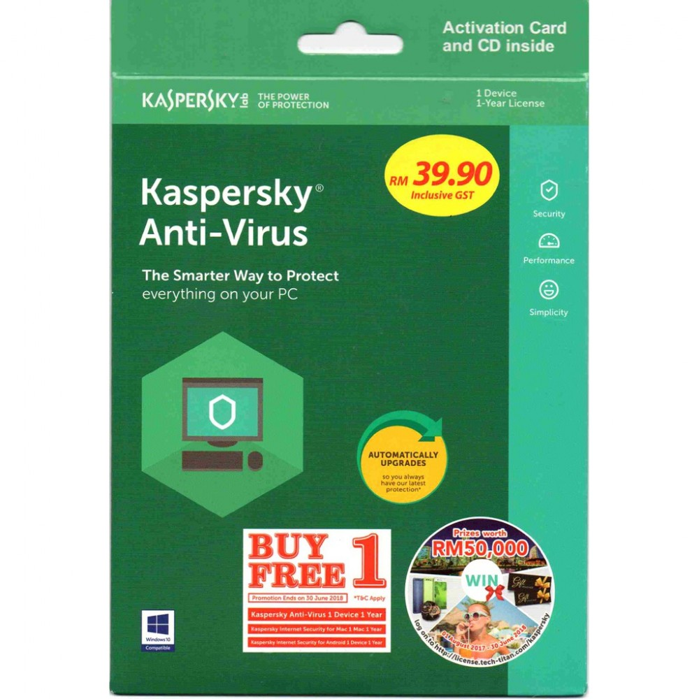 Kaspersky Anti Virus 2018 (Buy 1 Free 1) 1Device.1Year Extra Free 1Device 1Year