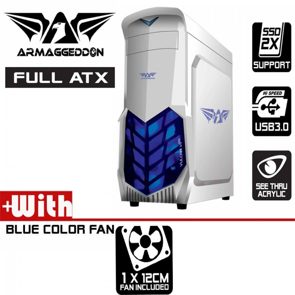 Official Armaggeddon Vulcan V1x Full ATX Gaming PC Desktop Casing White