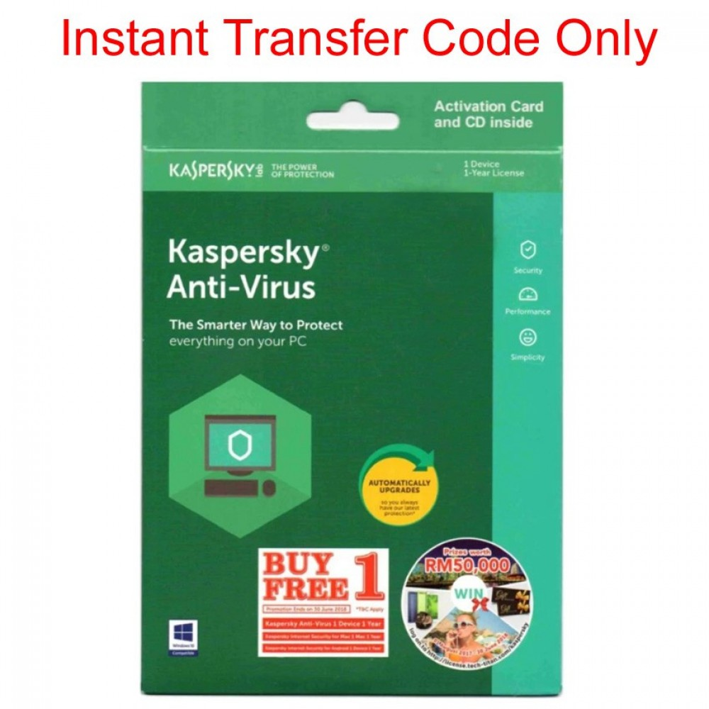 Kaspersky Anti Virus 2018 For 2 PC/1Device 1Year Instant