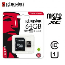 image of Official Kingston 64GB microSDHC Class 10 UHS-I 80MB/s Read Card with SD Adapter