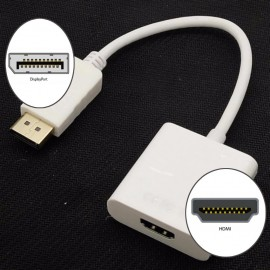 image of 100% working DisplayPort Male to 1080P HDMI Female Video Converter Adapter Cable