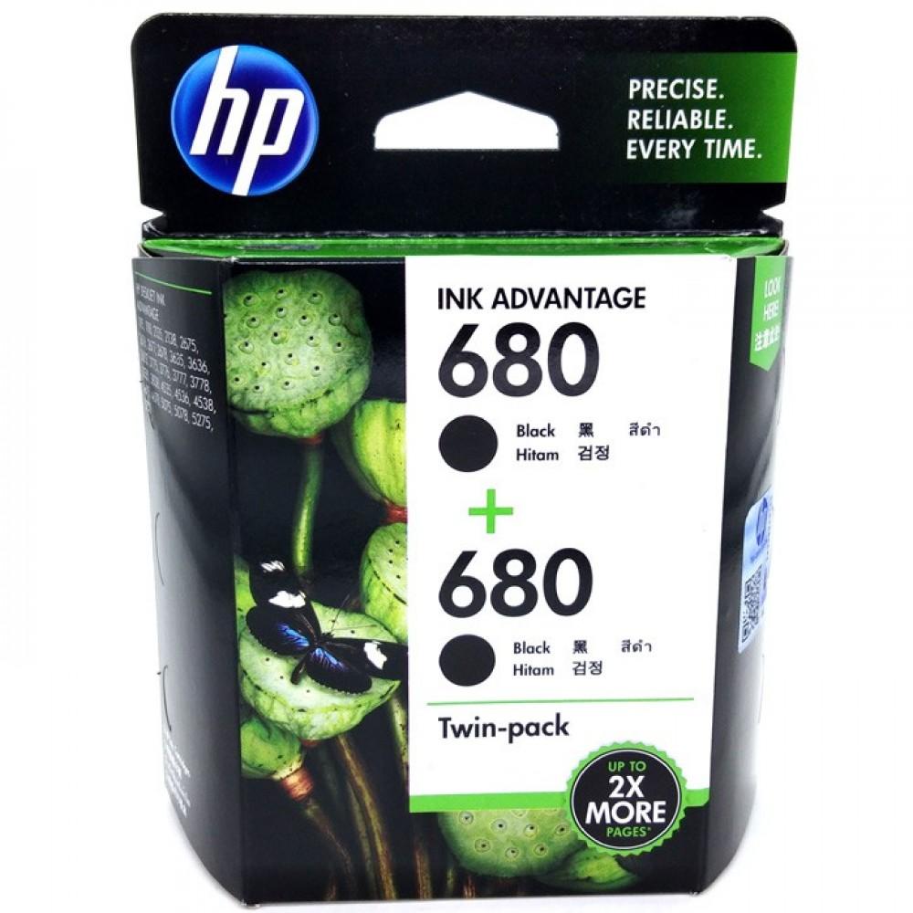 Official Hp 680 Twin Pack Black Ink Advantage Cartridges Cartridge