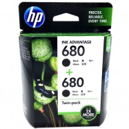 image of Official HP 680 Twin Pack Black+Black Ink Advantage Cartridges