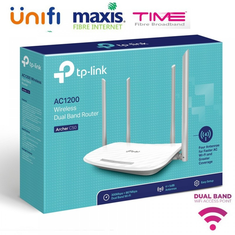 Official TP-Link Archer C50 AC1200 Wireless Dual Band Router