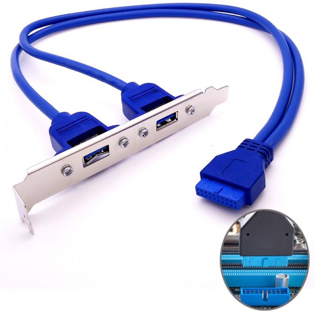 Motherboard 2 Ports USB 3.0 hubs Expansion Rear Panel Header Bracket Connector