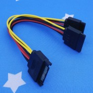 image of 15 Pin Sata Power To 15 Pin x2 Sata Power Y-Cable 20Cm (T14-10)