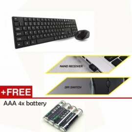 image of AVF AKM8000G 2.4G Wireless Keyboard & Mouse Combo Set (Black)