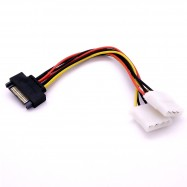image of 15 Pin Sata Power to 4 Pin x2 Molex Power Y-Cable (2x 4 Pin and 1X 15 pin)