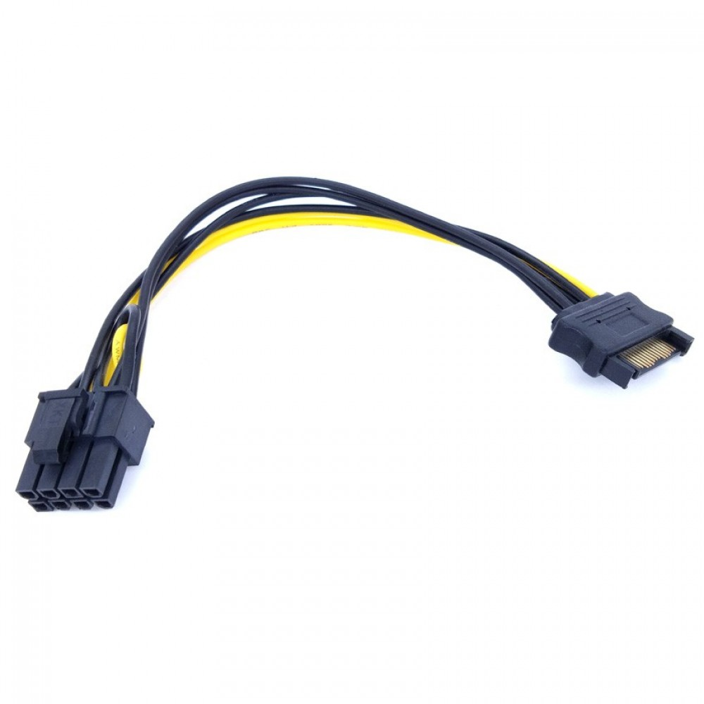 Sata Power Cable 15 pin to 8 pin Female PCIE Graphics Card Power Cord (P4-1-8b)