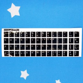 image of English Sticker For PC / Laptop Keyboard Color Black & Fonts White (T12-7)