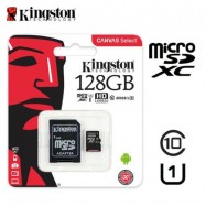 image of Official Kingston 128GB microSDHC Class 10 UHSI 80MB/s Read Card with SD Adapter
