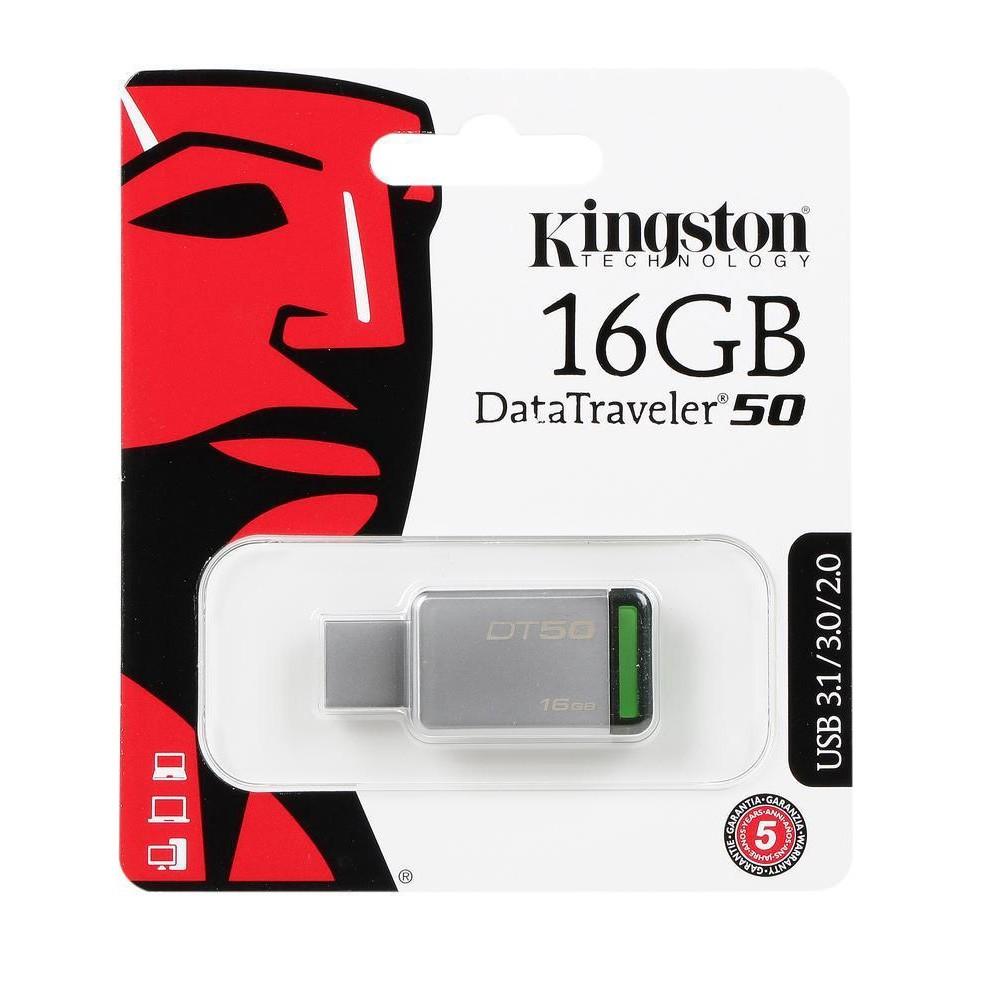 Official 16GB Kingston DataTraveler 50 - USB 3.1 Gen 1 (USB 3.0)