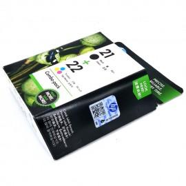 image of Official HP 21 & 22 Combo Pack Black/Tri-color Original Ink Cartridges