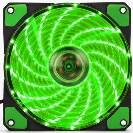 image of F120 Shockproof DC 12V 3-4PIN Computer Case Cooling 12cm 15Led Green Fan