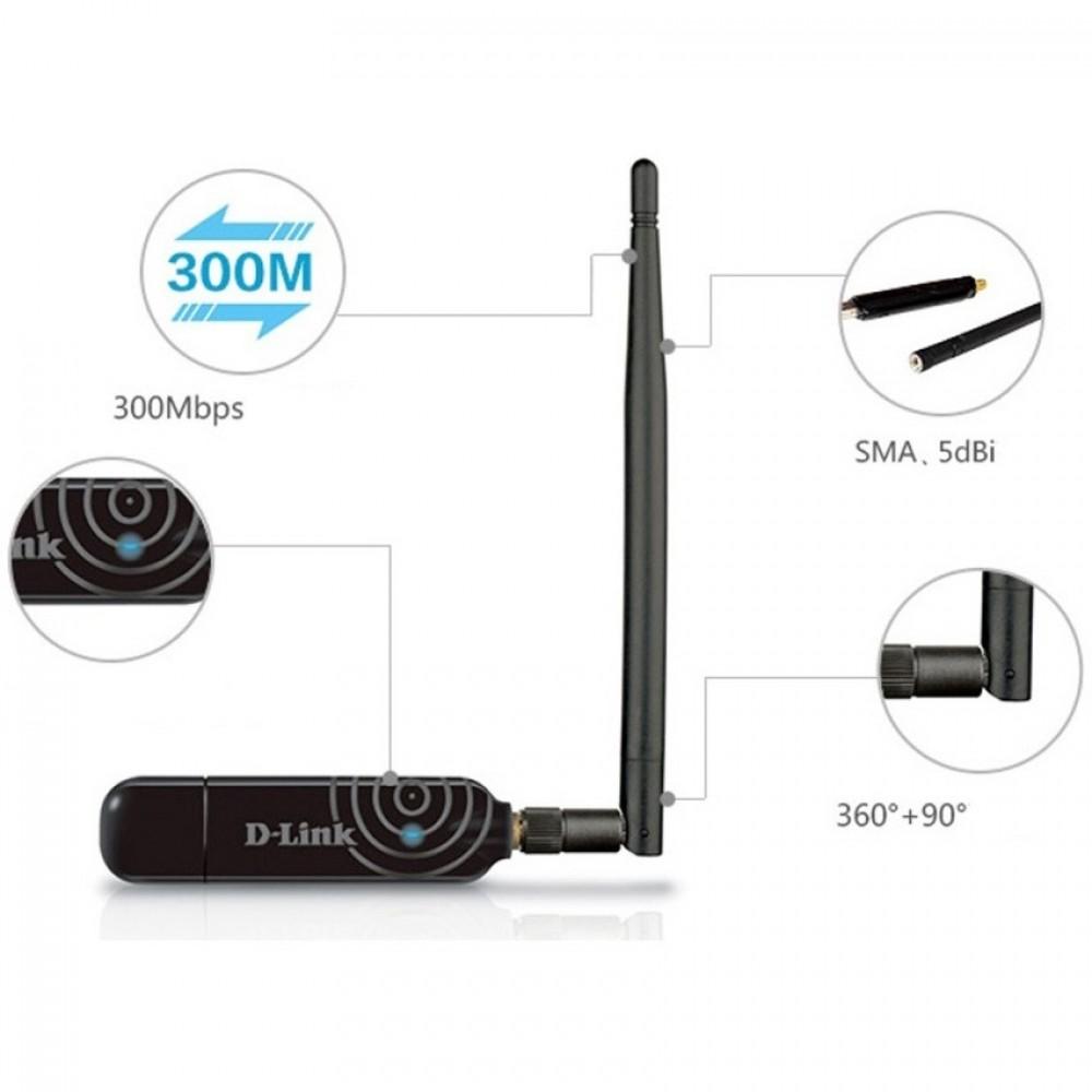 Official D-LINK DWA-137 High Gain 300Mbps 5dBi Antenn USB Wireless WiFi Adapter