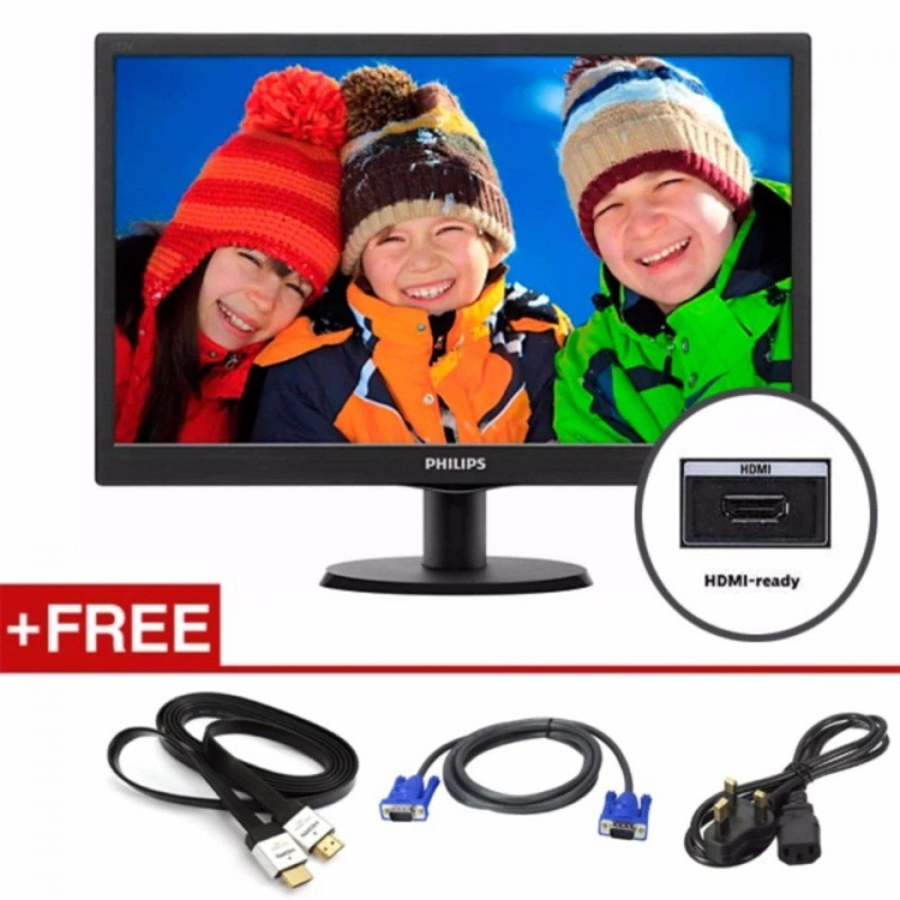 "Philips 23.6"" 243V5QHSBA 16:9 Full HD Widescreen LED Monitor With Vga/Dvi /HDMI"