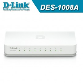 image of Official D-Link DES-1008A 8-Port 10/100 Mbps Fast Ethernet Desktop Switch