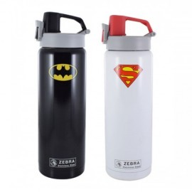 image of Zebra 0.6L Vacuum Bottle - Batman/Superman