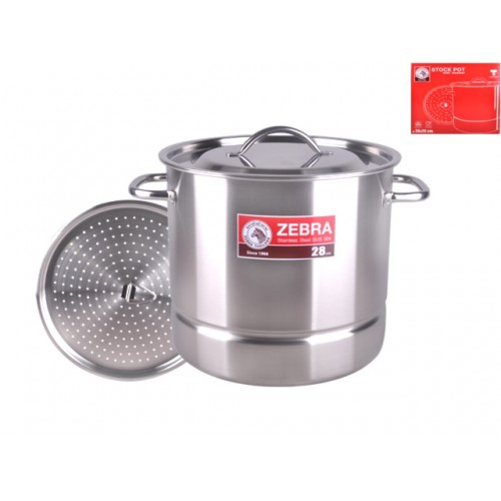 Zebra 28X26cm Stock Pot W/Steaming Plate