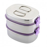 image of Zebra Smart Lock II 16cm X 2 Tier Oval Lunch Box