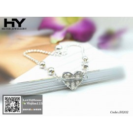 image of [HY Exclusive Series] S925 Sterling Silver Romantic Heart Shaped Abacus Bracelet JH202