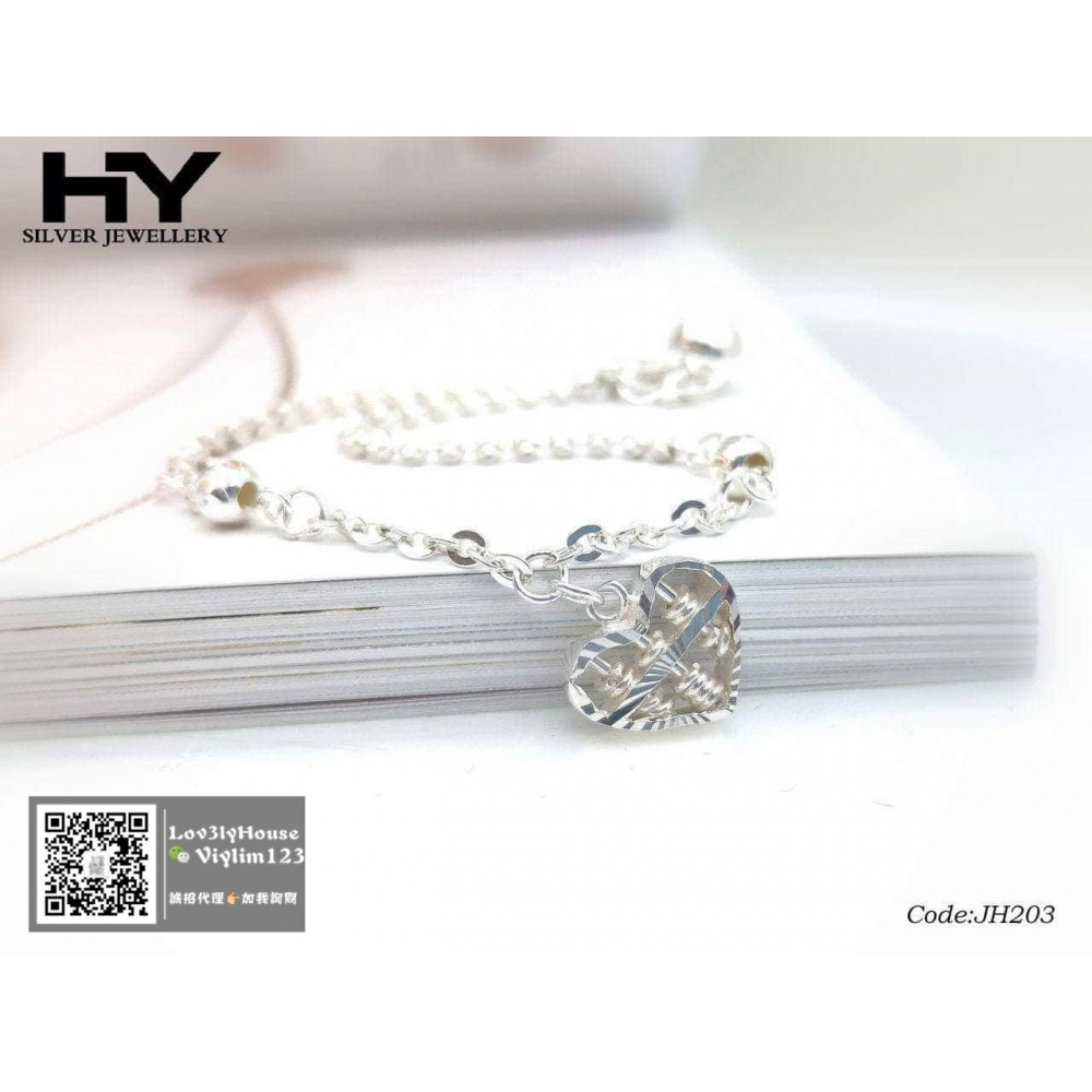 [HY Exclusive Series] S925 Sterling Silver Sweet Heart Shaped Abacus Bracelet JH203