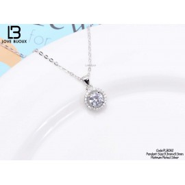 image of [Love Bijoux set chain series] S925 silver platinum plated elegant round diamond necklace PLB082