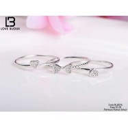 image of [Love Bijoux Series] S925 silver lucky four-leaf clover triple platinum plating ring RLB016