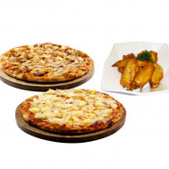 image of 2 Regular Pizza + BBQ Wings (4 pcs)