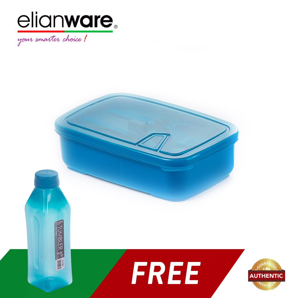 image of Elianware Lunch Box with Fork & Spoon (1.3L) + FREE Water Tumbler (1L)