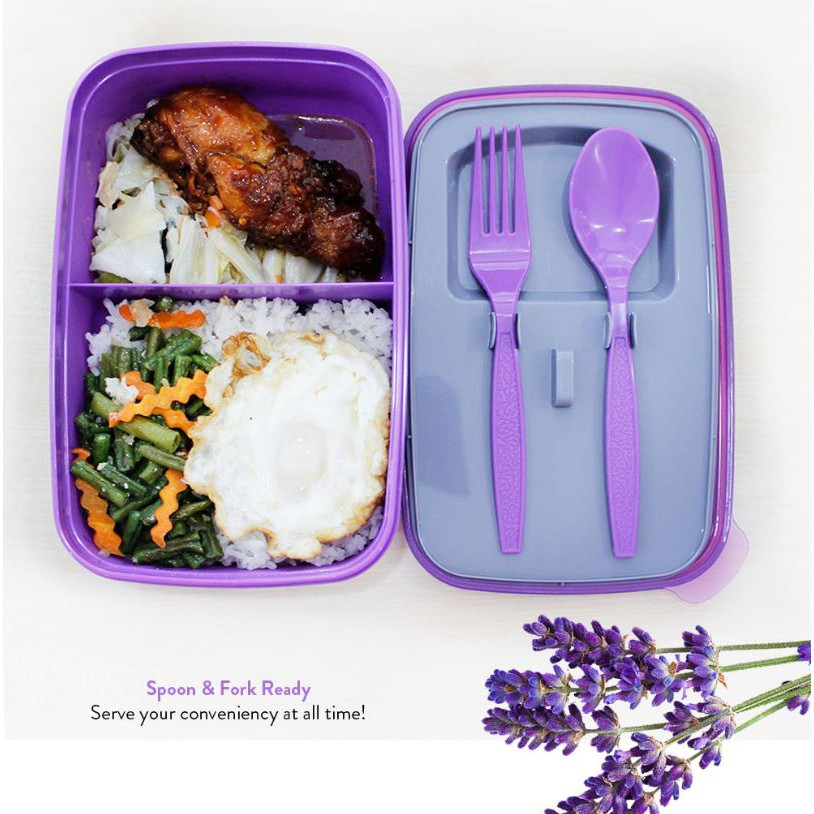 Elianware Lunch Box with Fork & Spoon (1.3L) + FREE Water Tumbler (1L)