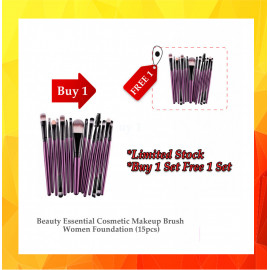 image of {12.12}  BUY 1 FREE 1Beauty Essential Cosmetic Makeup Brush Women Foundation (15pcs) BUY 1 SET FREE ..