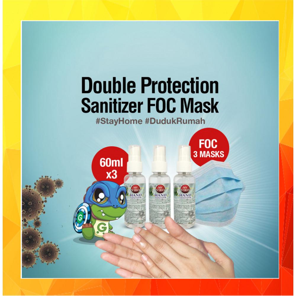 [Ready Stock][FOC 3 Masks]Hand Sanitizer Spray 60ML [Ethyl Alcohol 75% v/v] x 3btl
