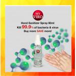[Ready Stock]Hand Sanitizer Spray 60ML [Ethyl Alcohol 75% v/v]  x 8btl