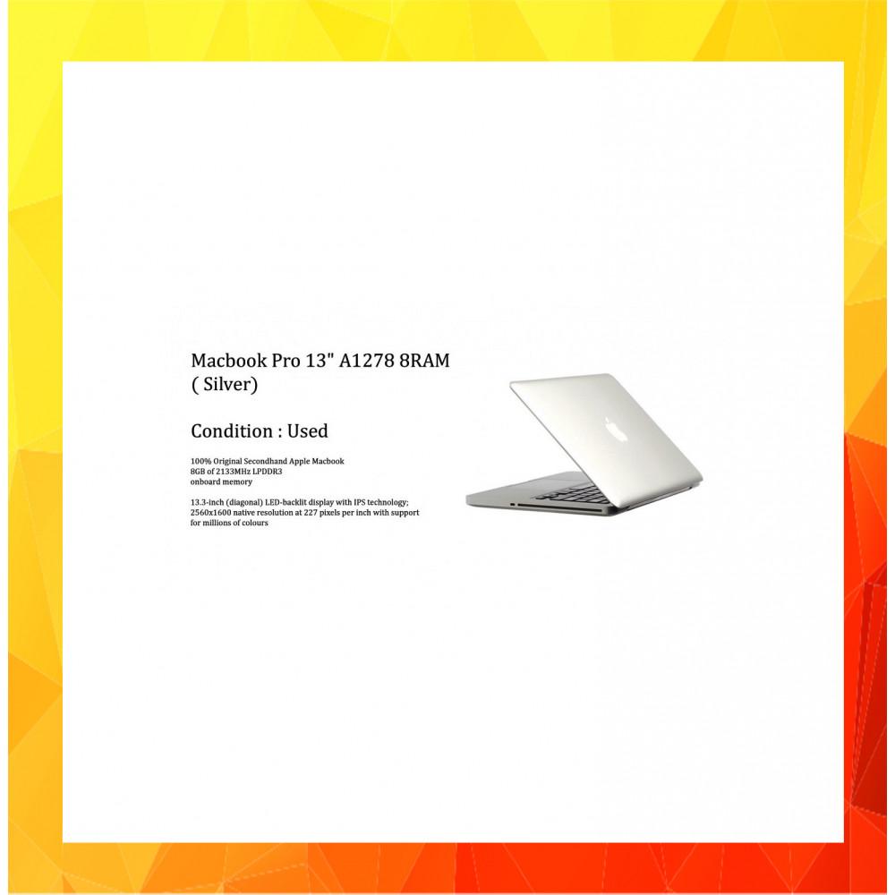 "Macbook Pro 13"" A1278 8RAM ( Silver) Used"