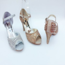 image of 9CM HEELS 2CM PLATFORM BLING BLING OPEN TOE SHOES