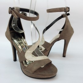image of 10 CM WITH 3CM PLATFORM SLIDE SANDALS HEELS
