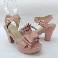 image of 10 CM PLATFORM BIG HIGH HEELS RIBBON SANDALS SHOES (PINK)