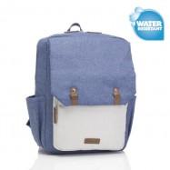 image of Babymel George Backpack - Mid Blue & Oatmeal