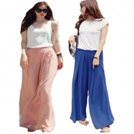image of Ready stocks _Chiffon Palazzo Pants, flowy material. (Culottes)