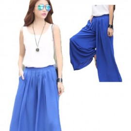 image of Plus size pants for ladies, blue colour (palazzo)