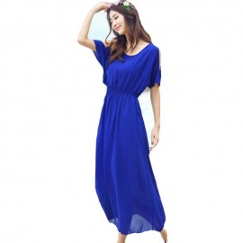 image of Blue chiffon dress for ladies