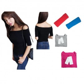 image of READY STOCK ! off shoulder tops , 3/4 sleeve cotton shirt for ladies, short type