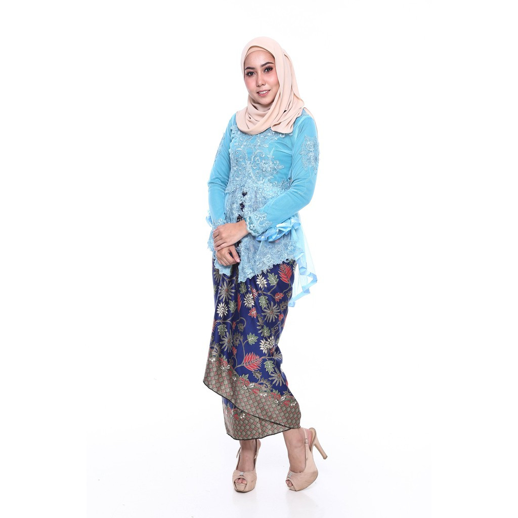 image of ROSSA Ruffles Fishtail Kebaya With Printed Satin Pario -BLUE