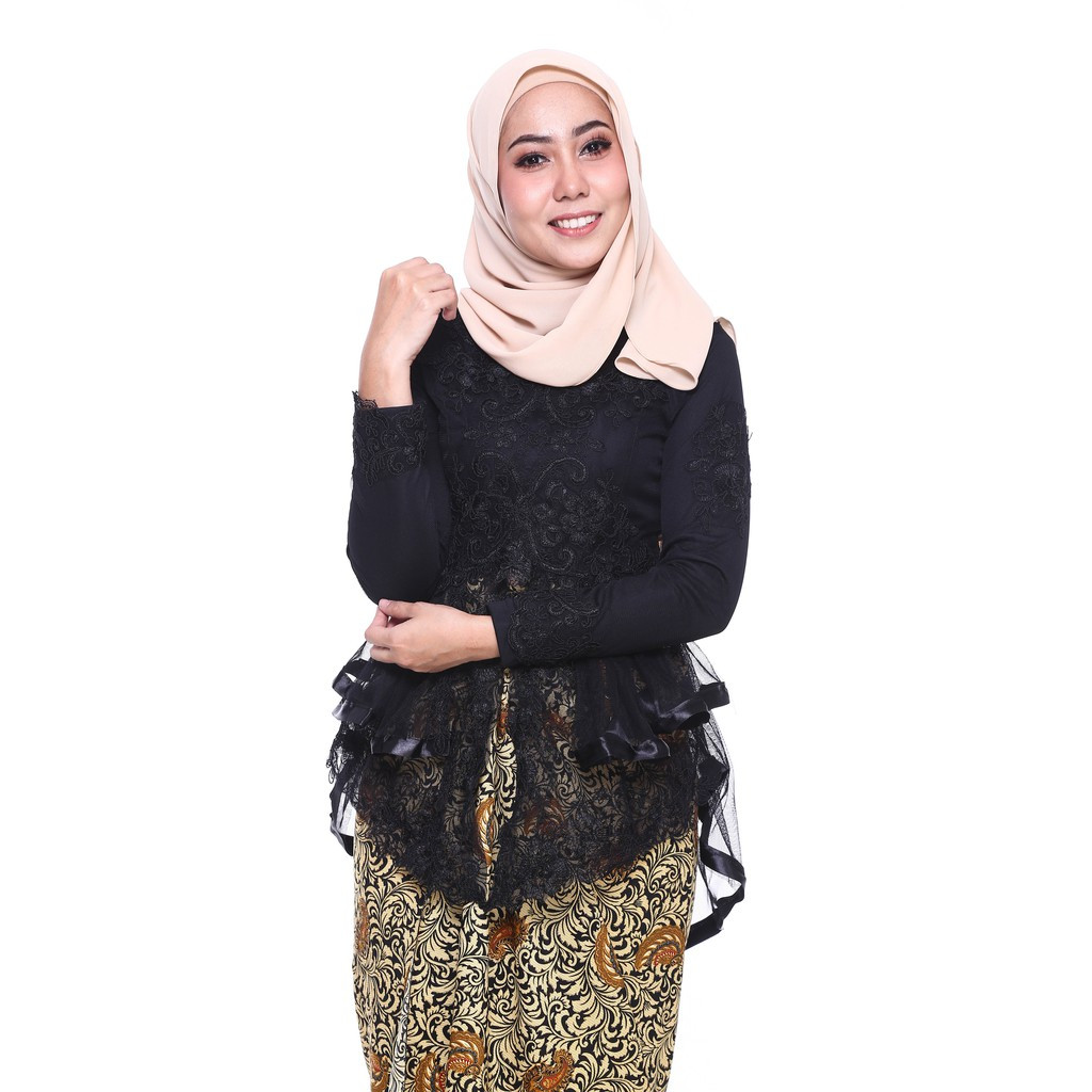 image of ROSSA Ruffles Fishtail Kebaya With Printed Satin Pario -BLACK