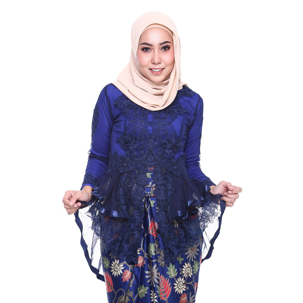 image of ROSSA Ruffles Fishtail Kebaya With Printed Satin Pario -NAVY