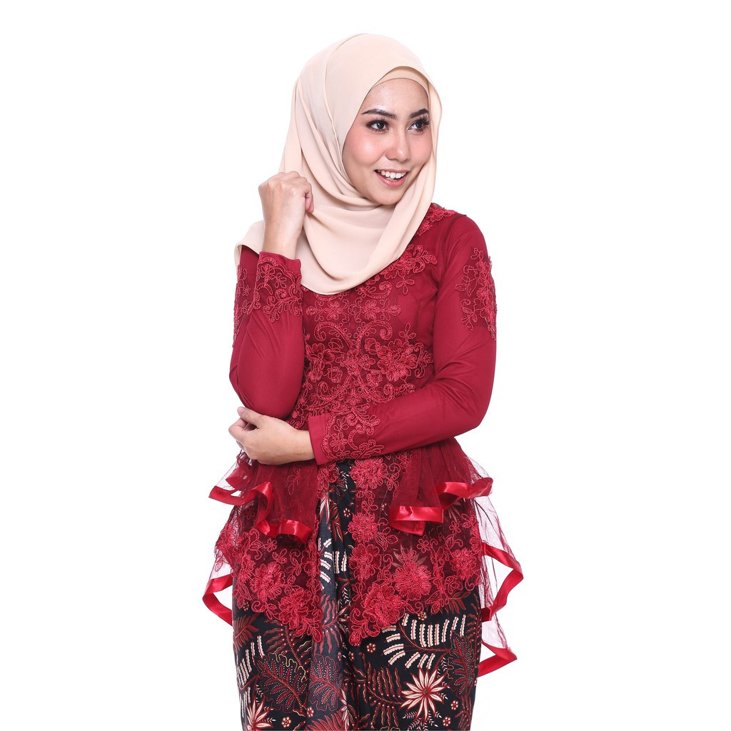 image of ROSSA Ruffles Fishtail Kebaya With Printed Satin Pario -MAROON