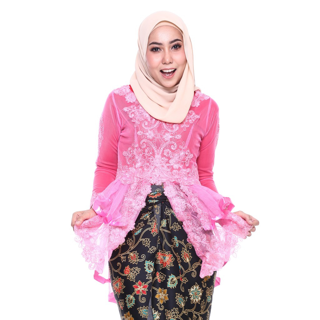 image of ROSSA Ruffles Fishtail Kebaya With Printed Satin Pario - PINK