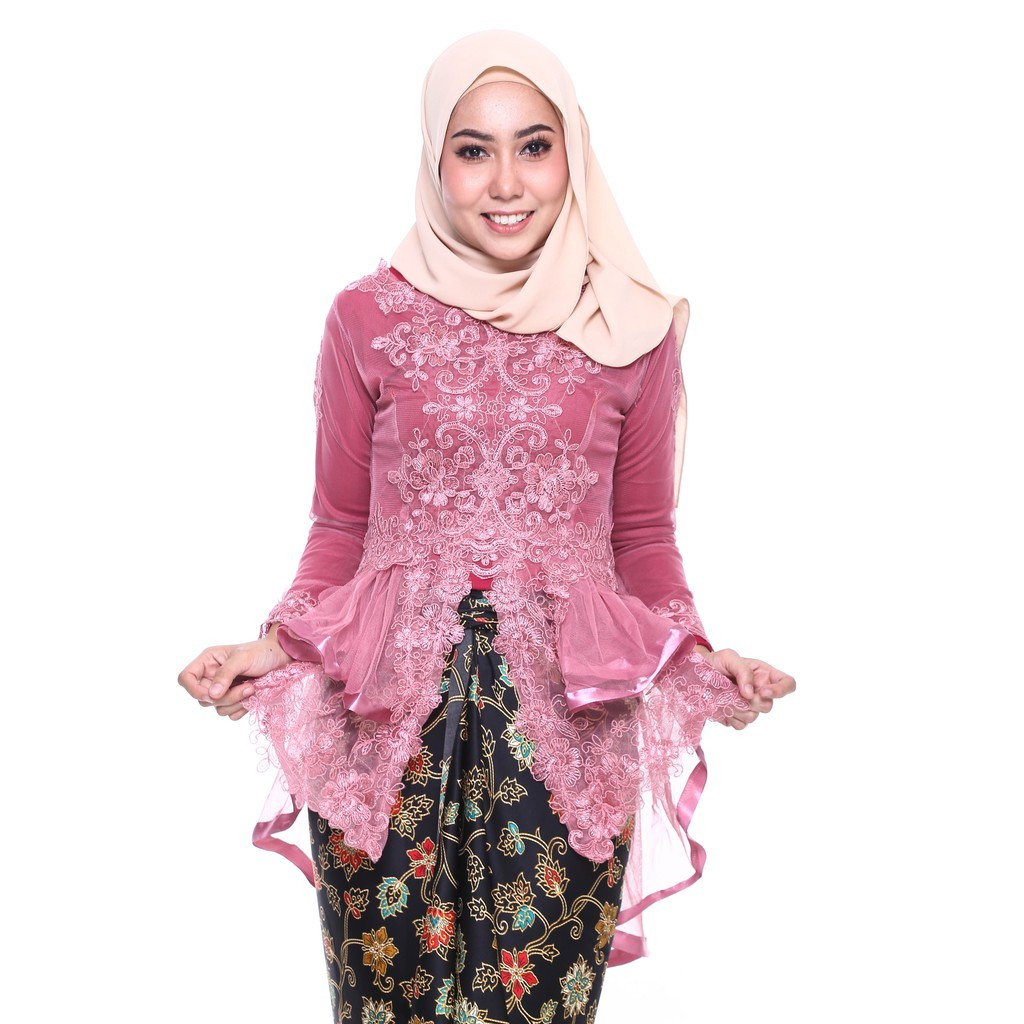 image of ROSSA Ruffles Fishtail Kebaya With Printed Satin Pario-DUSTYPINK